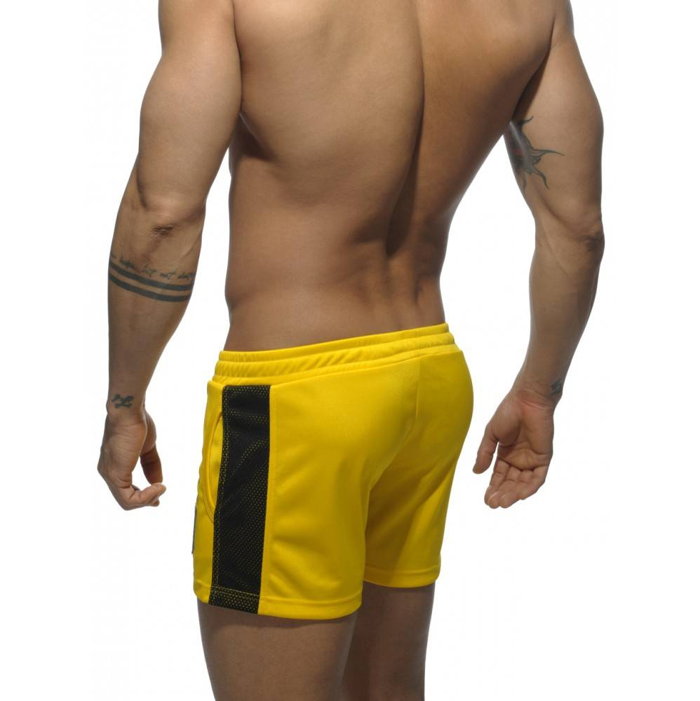 Addicted Addicted Badge Sport Short geel met zwart