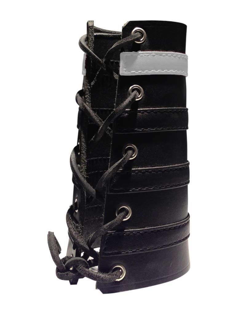 RoB Leather Lace Up Gauntlet mit 3 schwarzen und 1 weissen Streifen