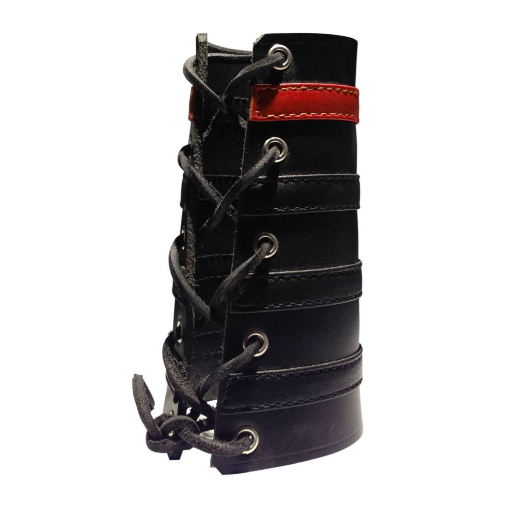 RoB Leather Lace Up Gauntlet with 3 Black and 1 Red Stripe