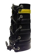 RoB Leather Lace Up Gauntlet with 3 Black and 1 Yellow Stripe