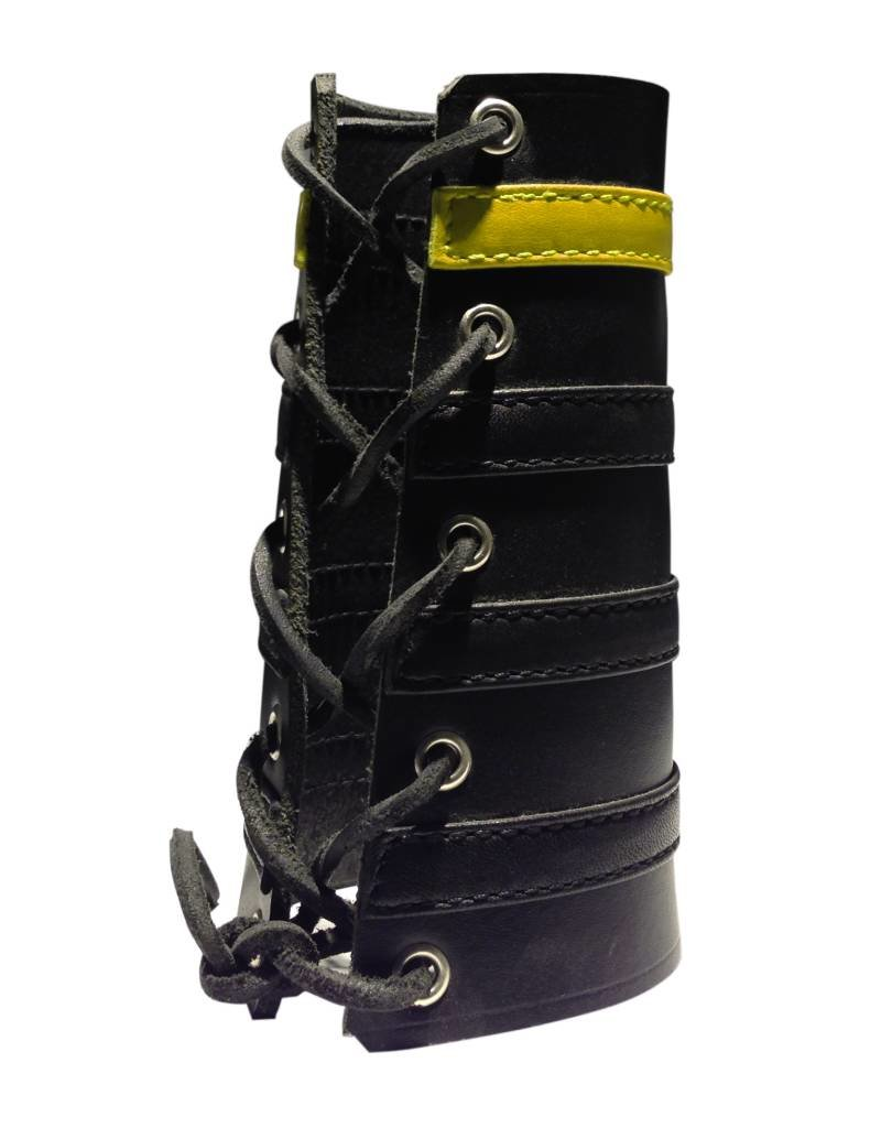 RoB Leather Lace Up Gauntlet met 3 zwarte en 1 gele band