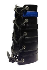 RoB Leather Lace Up Gauntlet met 3 zwarte en 1 blauwe band