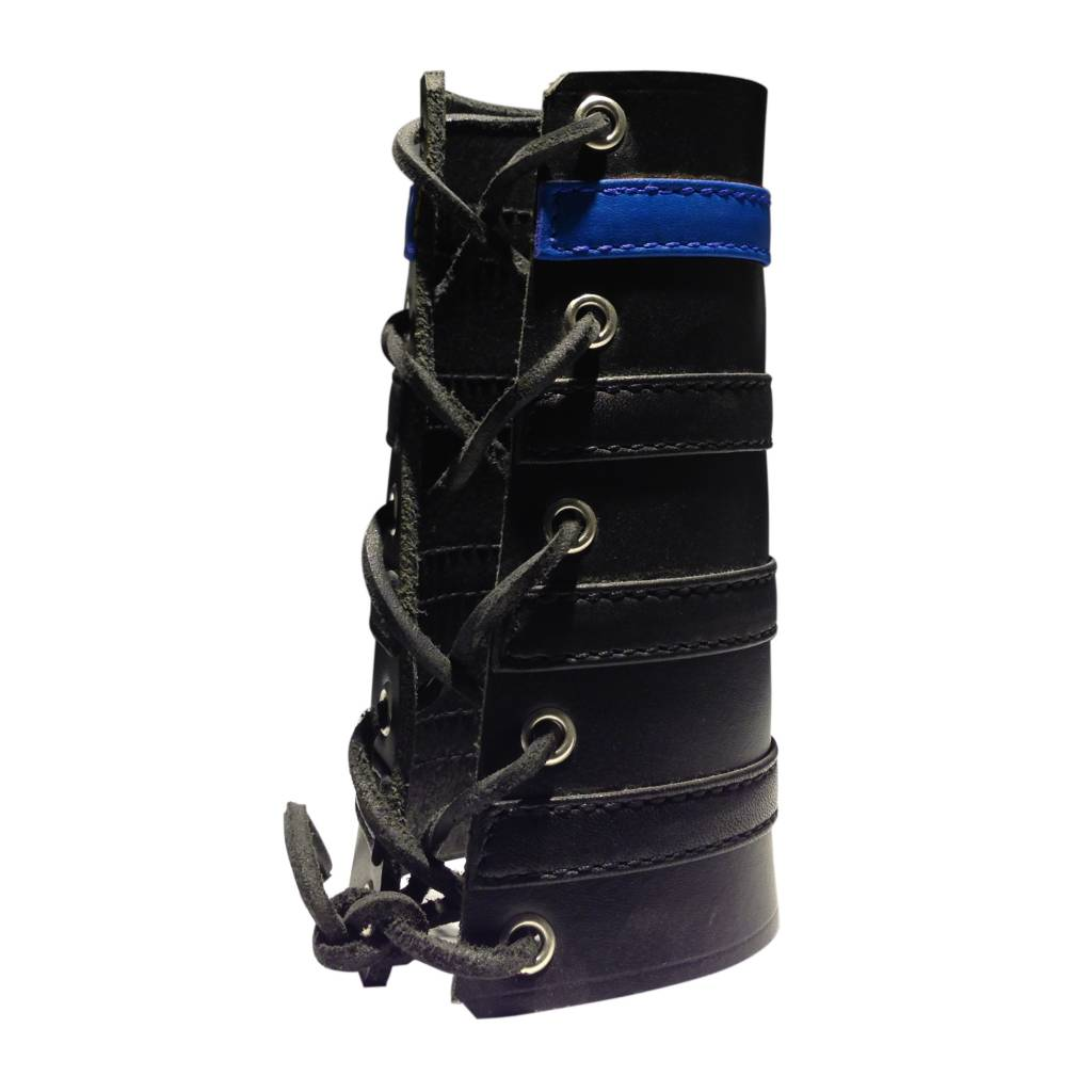 RoB Leather Lace Up Gauntlet with 3 Black and 1 Blue Stripe