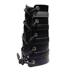 RoB Leather Lace Up Gauntlet met 3 zwarte en grijze band