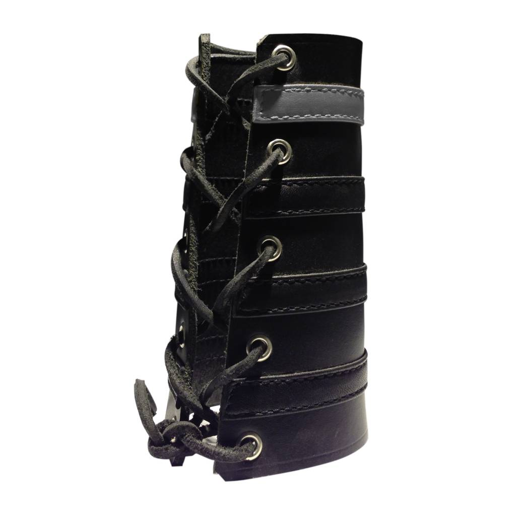 RoB Leather Lace Up Gauntlet with 3 Black and 1 Grey Stripe