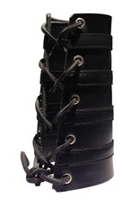 RoB Leather Lace Up Gauntlet met 4 zwarte banden
