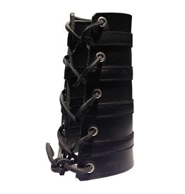 RoB Leather Lace Up Gauntlet with 4 Black Stripes