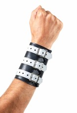 RoB Soft Leather 3 Buckled Wristband Black with White Straps