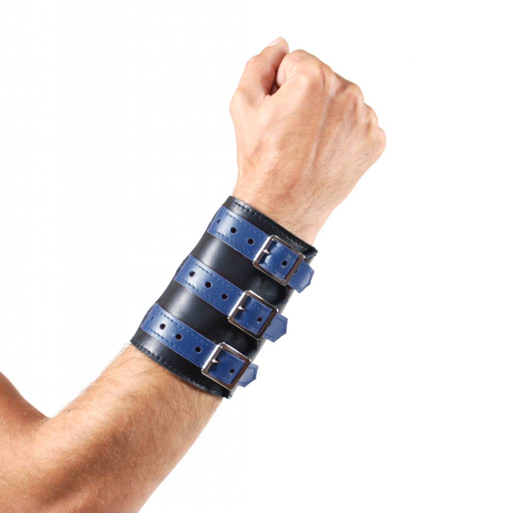 RoB Soft Leather 3 Buckled Wristband Black with Blue Straps