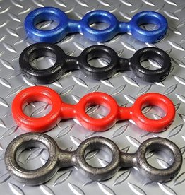 Oxballs 3-Ball Cockring with 2 attached Ball-Rings Red
