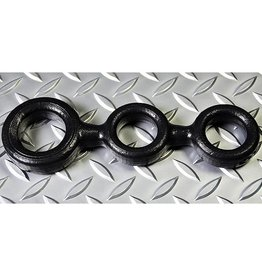 Oxballs 3-Ball Cockring with 2 attached Ball-Rings Black