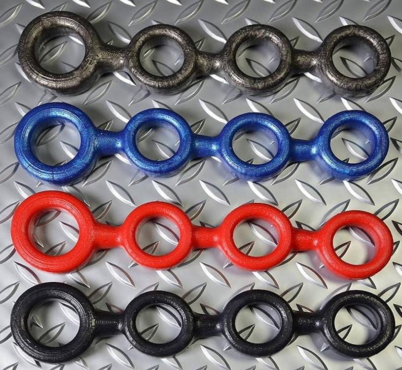 Oxballs 4-Ball Cockring with 3 attached Ball-Rings Red