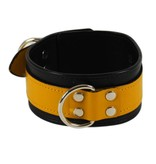 RoB Leather Slave Collar Yellow on Black
