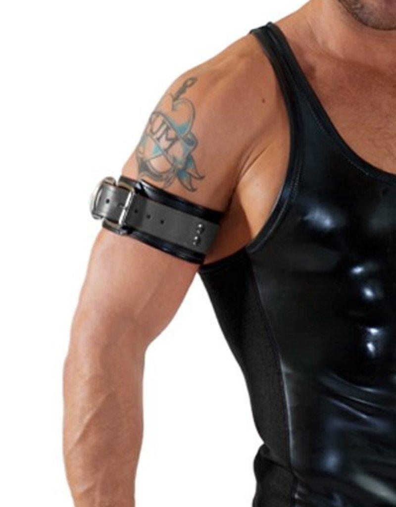 RoB Leder Bicepsband mit Schnalle, Schwarz mit Grau