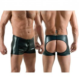 Neoprene Horny Fucker Shorts with Front Zip Black