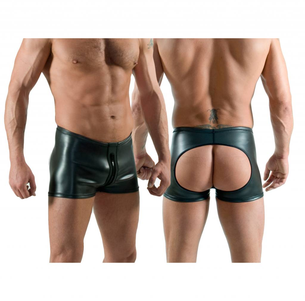 RoB Neoprene Horny Fucker Shorts with Front Zip Black