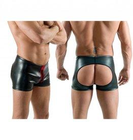 Neoprene Horny Fucker Shorts with Front Zip Schwarz mit Rot