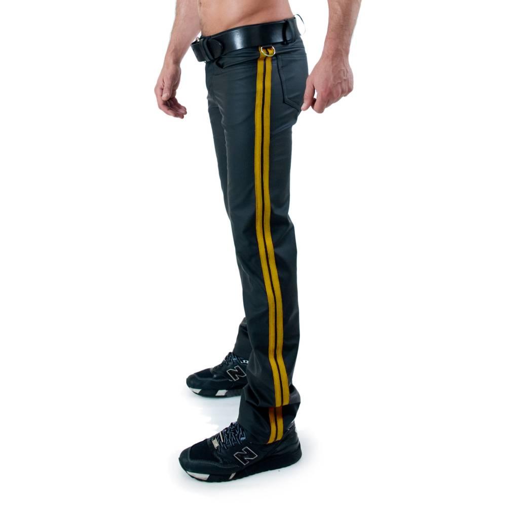 RoB F-Wear Full Zip Jeans, Gelbe Doppelstreifen