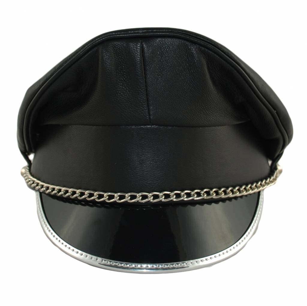 Leather Military Cap, Silver Trim