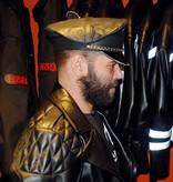 Leder Militaerkappe verstellbar