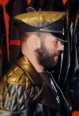 Leder Militärkappe verstellbar