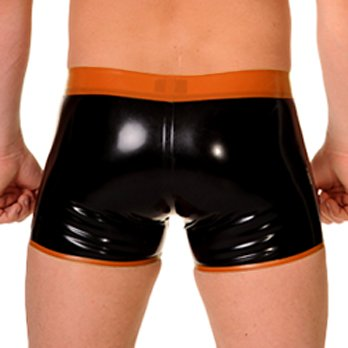 RoB Rubber Y-Front Pouch Shorts with Orange Trim