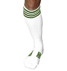 RoB RoB Boot Socks wit met groene strepen