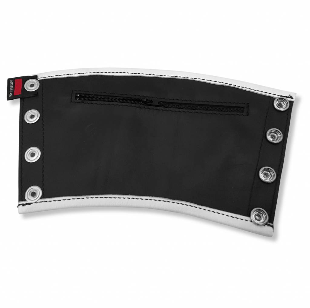 RoB Leather Gauntlet Wrist Wallet with White Piping