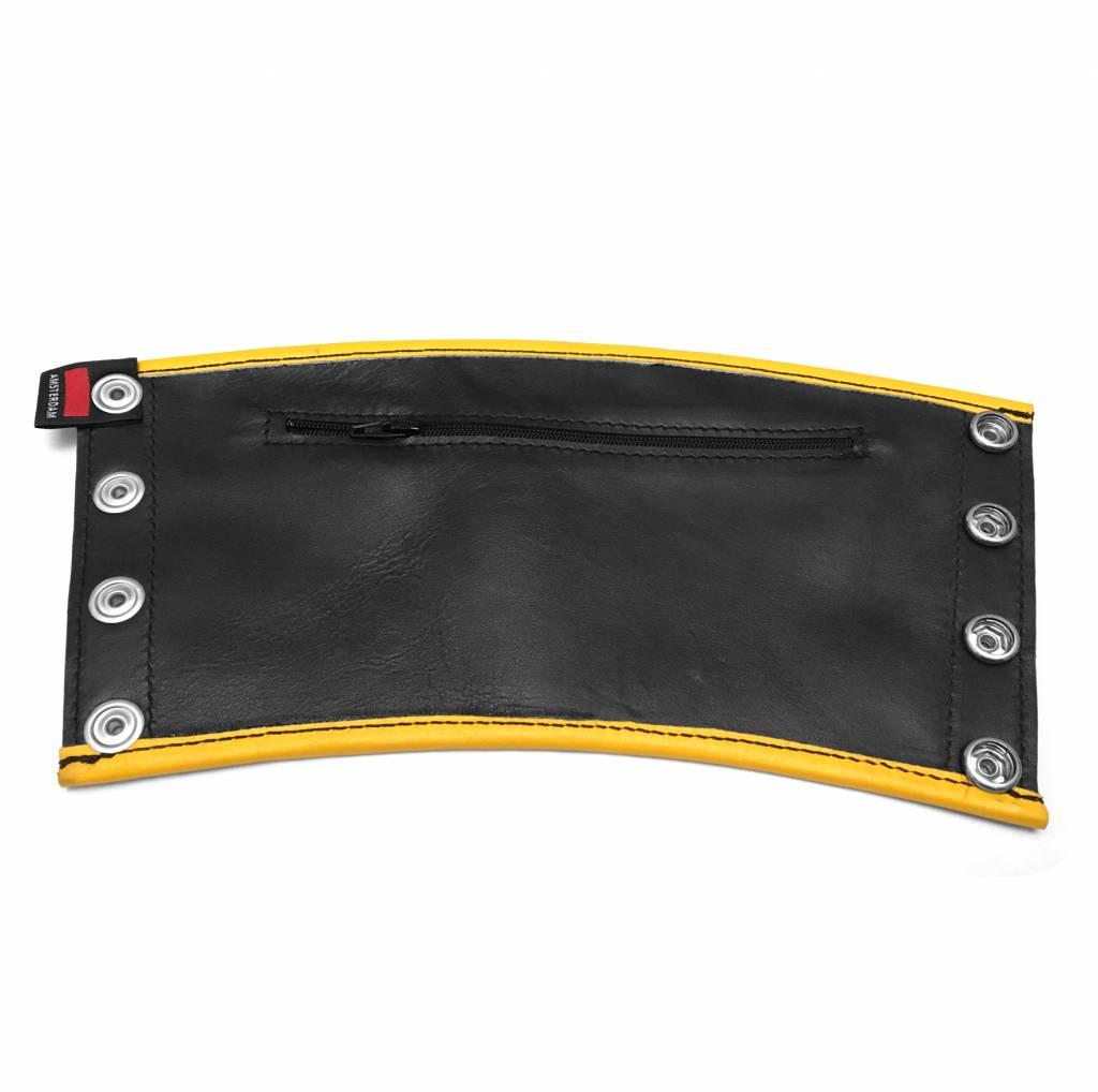 RoB Leder Gauntlet Geldboerse schwarz mit gelbem Rand