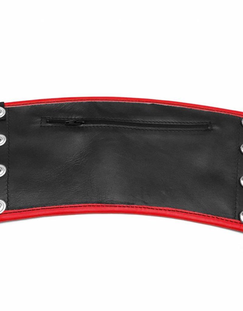 RoB Leren Gauntlet Wrist Wallet met rode bies