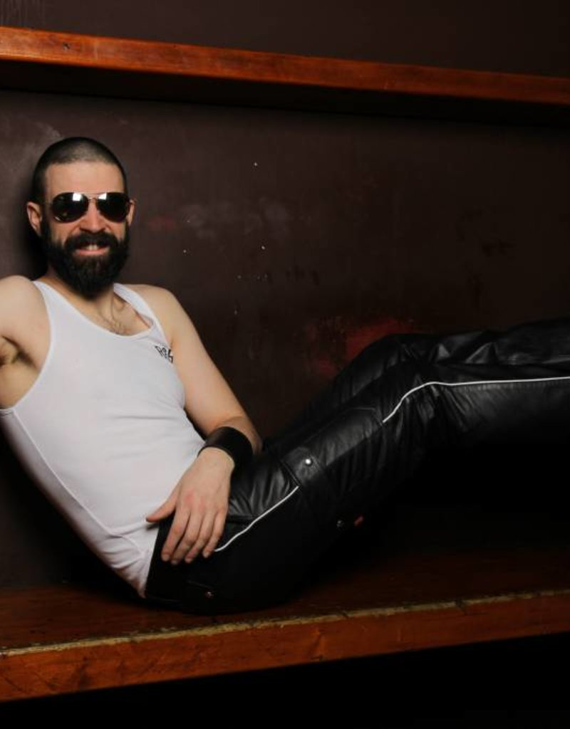 RoB Leather Cargo Pants White Piping