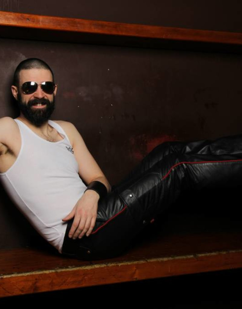 RoB Leather Cargo Pants Red Piping