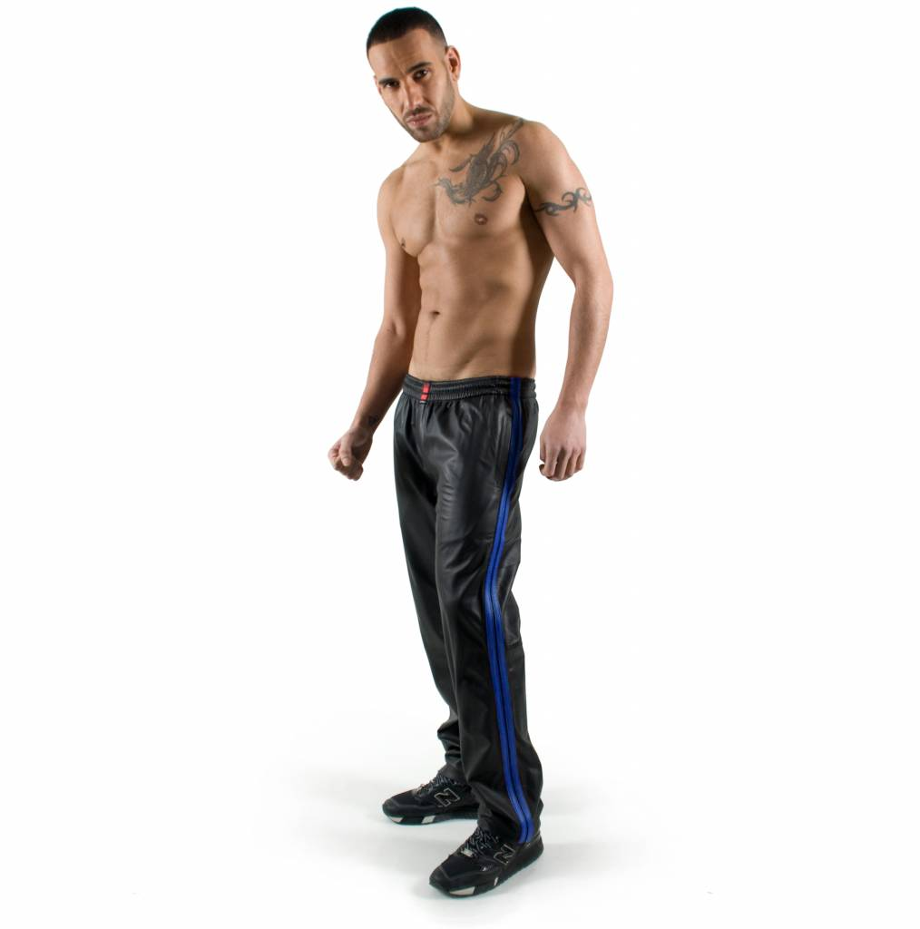 RoB Black Jogging Pants with Blue Stripes