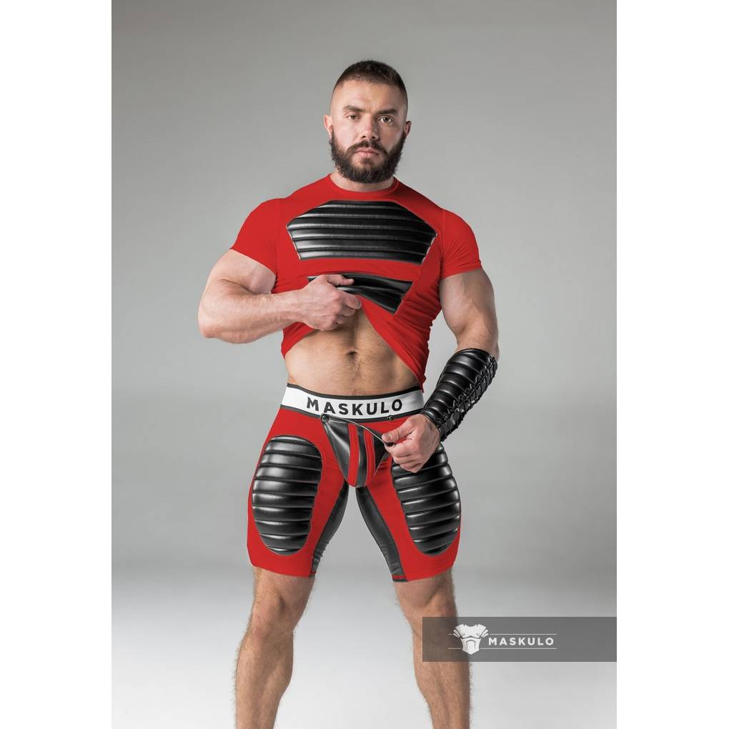 Maskulo Fetish Shorts with codpiece, open rear & thigh pads red/black