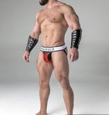 Maskulo Fetish Jock strap with detachable codpiece black/red