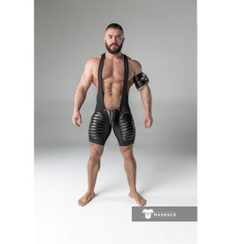 Maskulo Fetish Wrestling Singlet with codpiece & thigh pads black