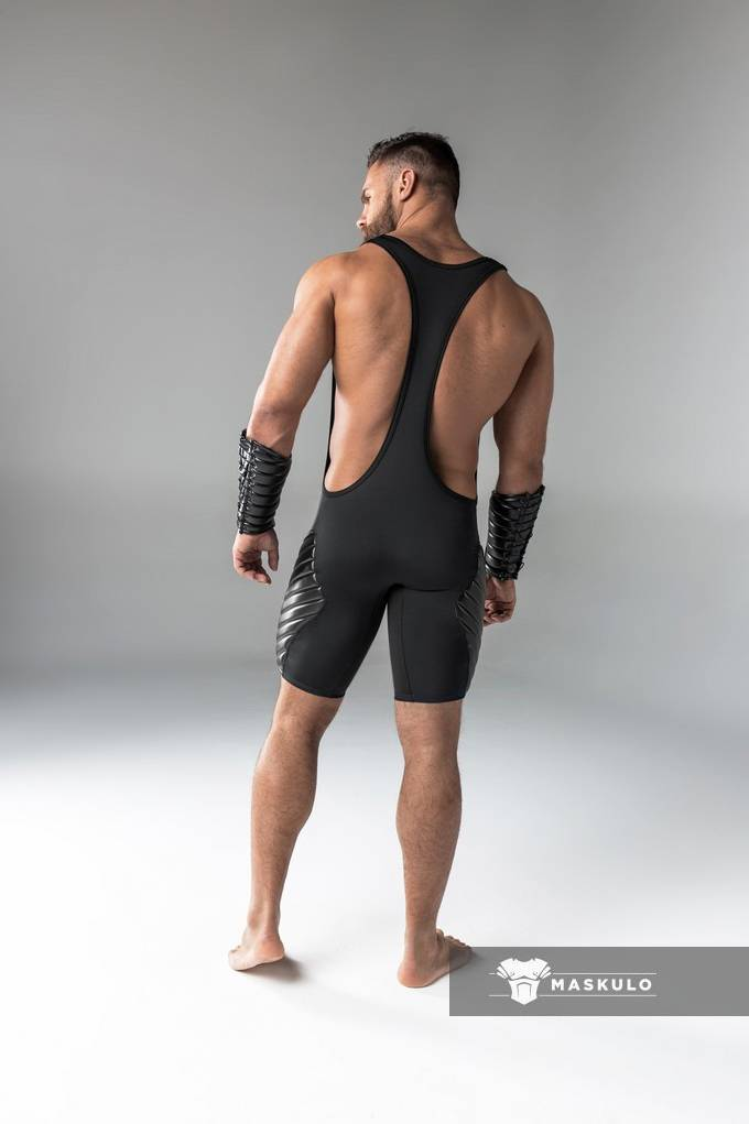 Maskulo Fetish Wrestling Singlet with codpiece black