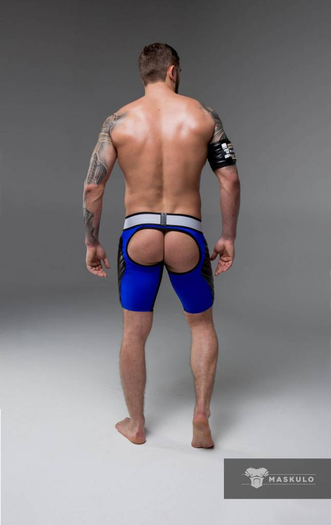 Maskulo Fetish Shorts with codpiece, open back & thigh pads blue/black