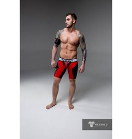 Maskulo Fetish Shorts with codpiece, open back & thigh pads red/black