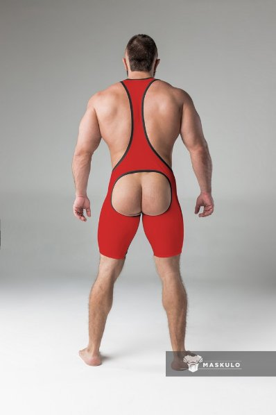 Maskulo Fetish Wrestling Singlet with codpiece, open ass red/black