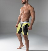Maskulo Fetish Shorts with codpiece, back zip & thigh pads yellow/black