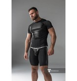 Maskulo Fetish Spandex T-Shirt with front and back pads Black