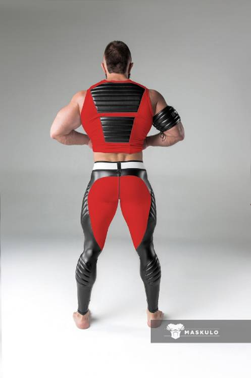 Maskulo Fetish Leggings with codpiece and back zip red/black