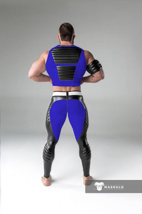 Maskulo Fetish Leggings with codpiece and back zip blue/black