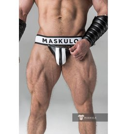 Maskulo Fetish Jock strap with detachable codpiece black/white