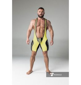 Maskulo Fetish Wrestling Singlet with codpiece yellow/black