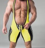 Maskulo Fetish Wrestling Singlet with codpiece yellow/black
