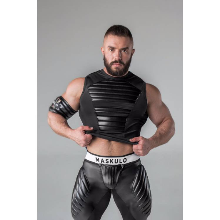 Maskulo Fetish Spandex Tank Top with front and back pads Black