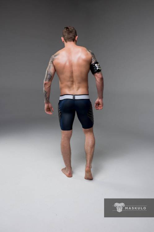Maskulo Fetish Shorts with codpiece,& thigh pads navy blue/black