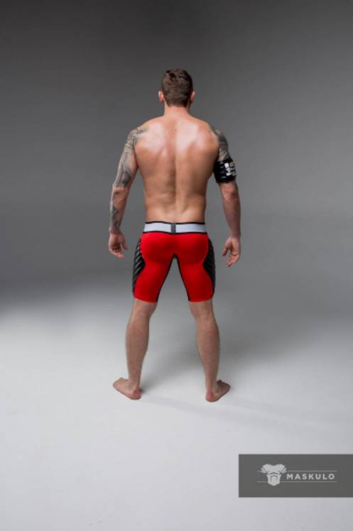 Maskulo Fetish Shorts with codpiece,& thigh pads red/black